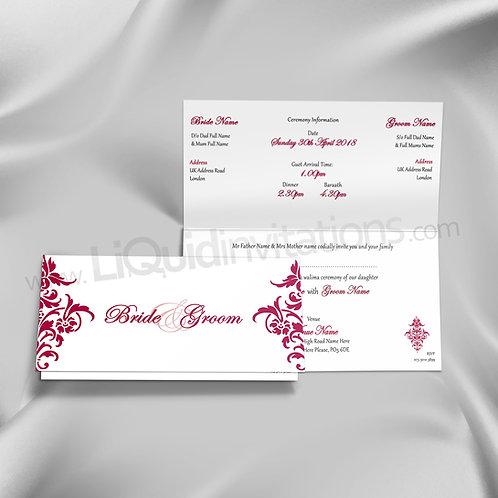 Damask Print Folded Wedding Invitation QTF25