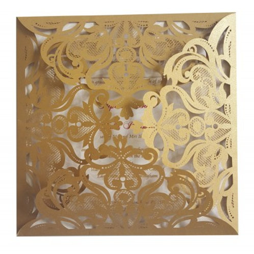 Gold Lasercut Four Way Fold Wedding Invitation LCF001