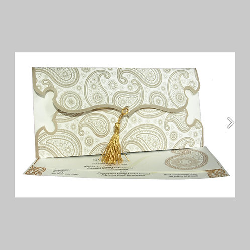 White Envelope Invitation With Gold Foil And Tassel PA082