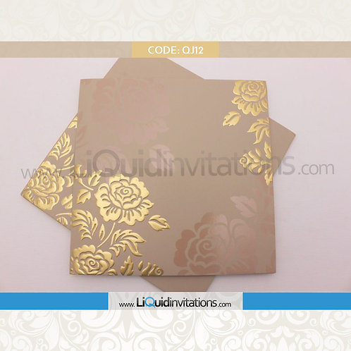 Beige Wedding Invitation Card QJI12
