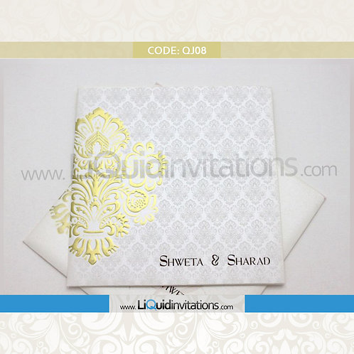 White & Gold Wedding Invitation Card QJI08