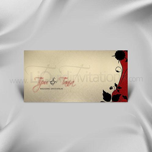 Floral Wedding Invitation Card Cream & Red QDL03