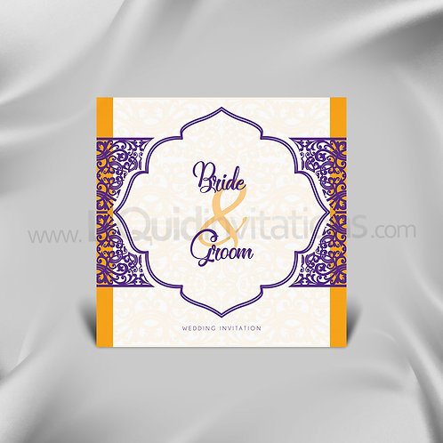 Indian Wedding Card  - White & Purple QSQ07