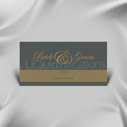 Grey & Orange personalised invitation QDL29