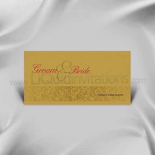 Two Tone Gold/Cream Classy Wedding Card QDL14