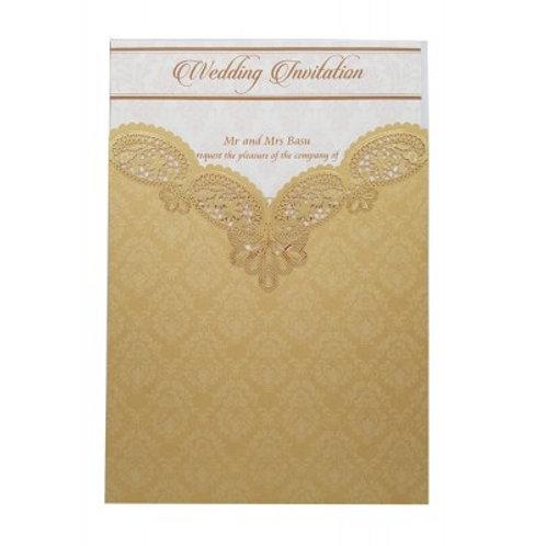 Gold Pocket Lasercut Wedding Invitation LC8009