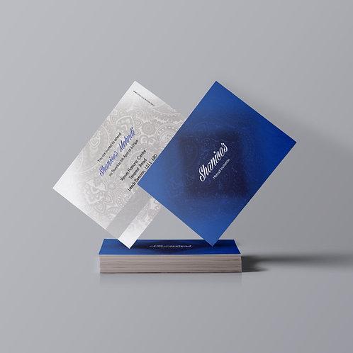 Blue & White A7 Mehndi Invitation Card QDM01