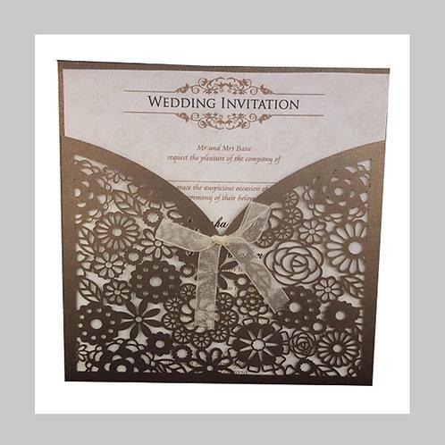 Pocket Fold Chocolate Wedding Invitation LC1001