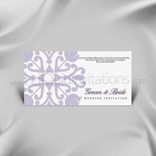 White & Purple DL Wedding Invitation Card QDL34