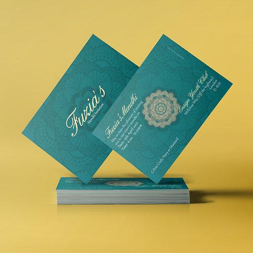 Turquoise & Cream A7 Mehndi Invitation Card QDM05