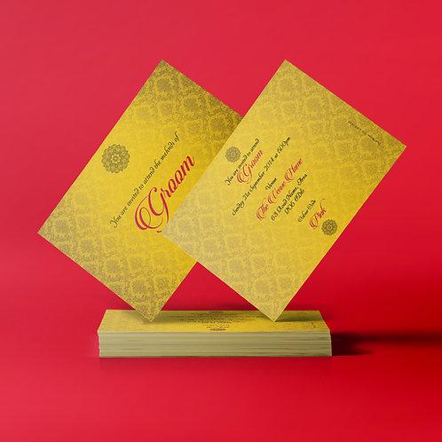 Yellow & Red A7 Mehndi Invitation Card QDM11