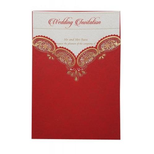 Red Pocket Lasercut Wedding Invitation LC8009