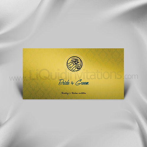 Unique gradient off Gold personalised Wedding Invitation Card QDL24