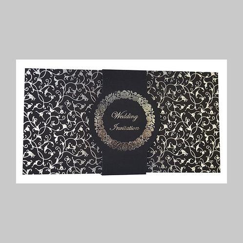 Black With Silver Foil Wedding Card ABC700