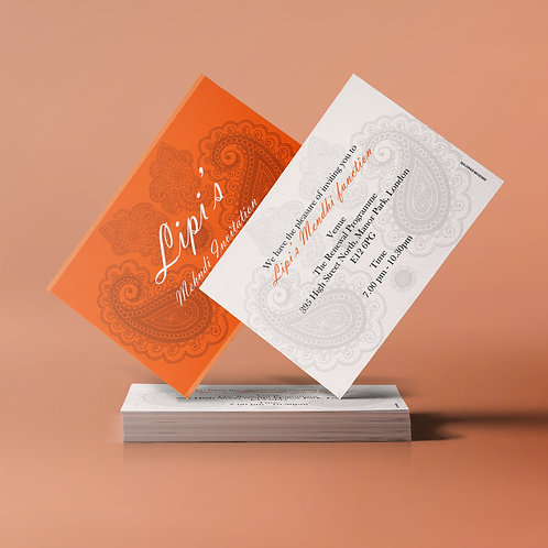 Orange & White A7 Mehndi Invitation Card QDM07