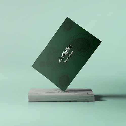 SAMPLE - Mehndi Green & White A7 Mehndi Invitation Card QDM02