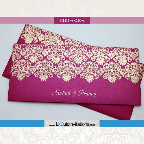 Pink & Peach Wedding Invitation Card QJI04
