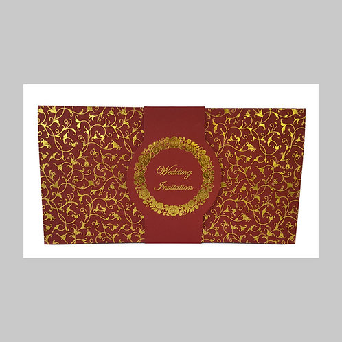 Red With Gold Foil Wedding Card ABC701