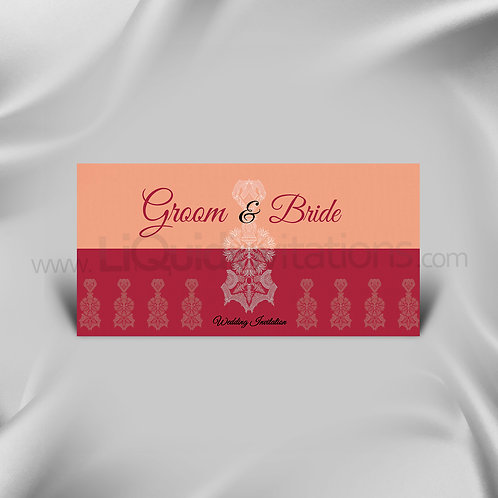 Two tone Exquisite wedding Card Red patterned QDL40