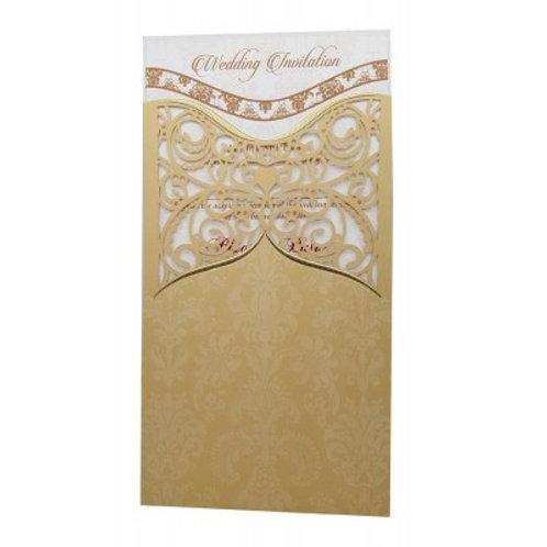Gold Pocket Lasercut Wedding Invitation LC8007
