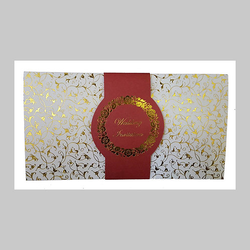 White With Gold Foil Wedding Card ABC702