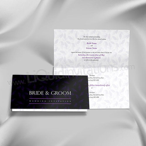 Leaf Print Black and Purple Christian style folded wedding invitation