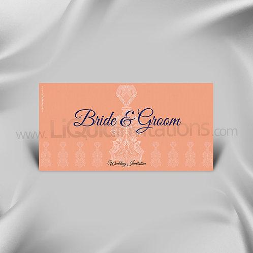 Salmon & Navy Blue DL Wedding Invitation Card QDL37