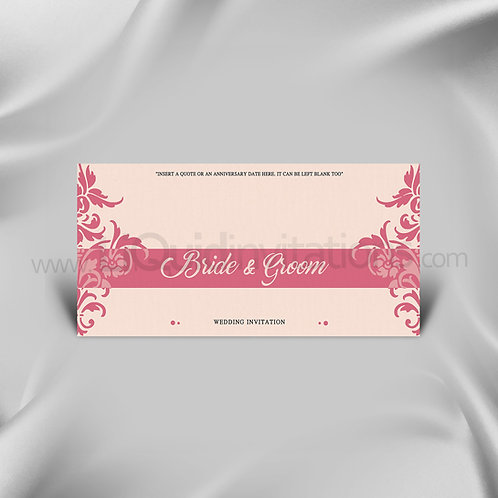 Damask Personalised Pink Wedding Invitation Card QDL16
