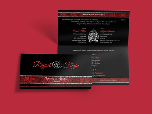 Black & Red Folded DL Wedding Invitation Card QTF07