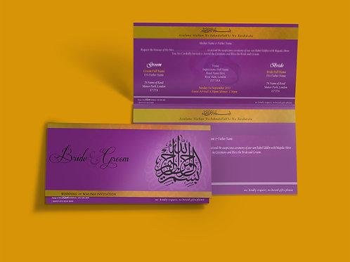 Purple & Gold Folded DL Wedding Invitation Card QTF01