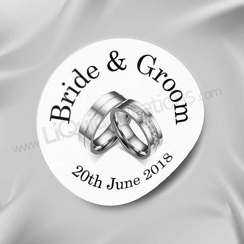 Silver Couple Rings Personalised Envelope Seal 05