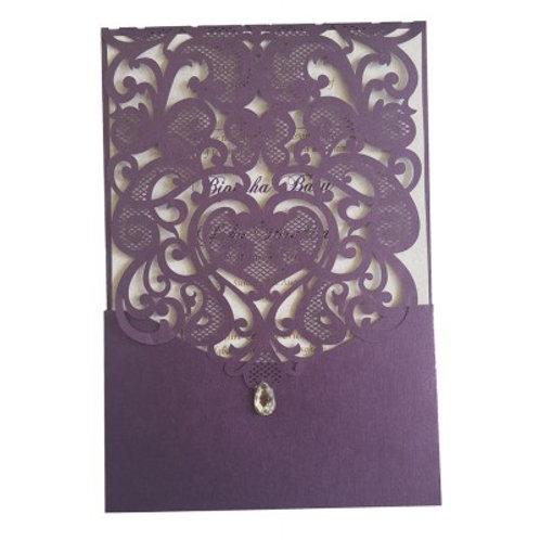 Purple Pocket Gem Lasercut Wedding Invitation LC1080