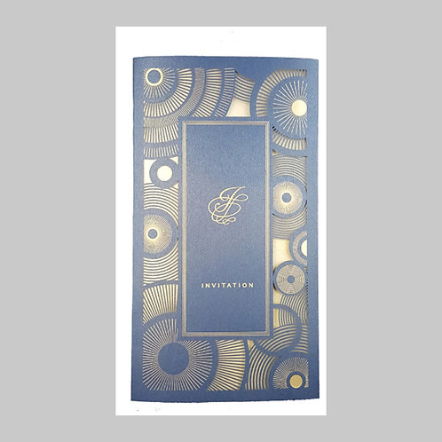 Navy Blue Invitation With Intricate Laser Cut LC1601 (Blue)