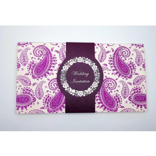 White With Purple Foil Wedding Card ABC702