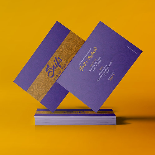 Purple & Gold A7 Mehndi Invitation Card QDM06