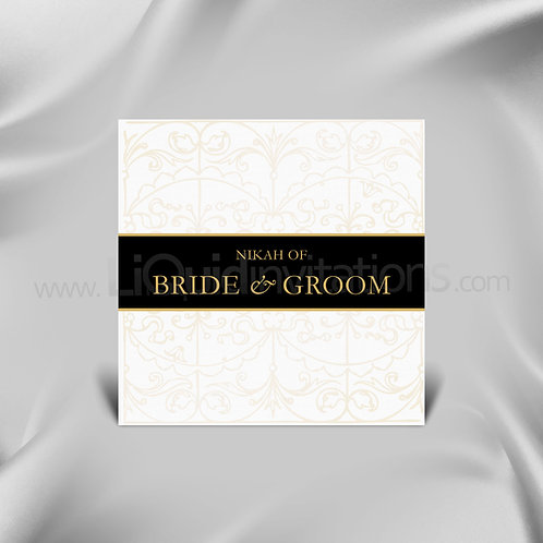 Nikah Wedding card in Square - Black with Dark Cream - QSQ09