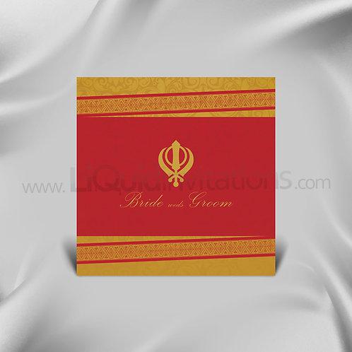 Sikh traditional wedding card - Red & Yellow QSQ10