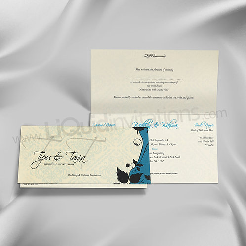 Cream & Blue Floral Patterned Wedding Invite QTF26