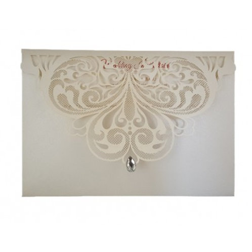 Ivory Envelope Lasercut Wedding Invitation LC7011
