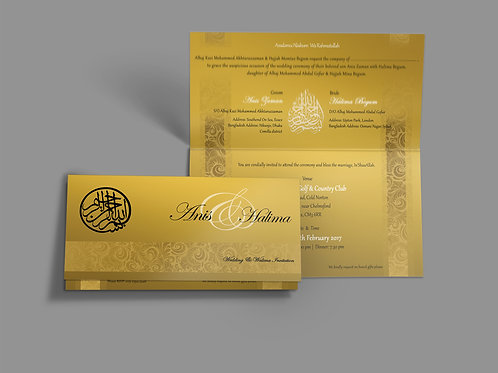 Gold, Black & White Folded DL Wedding Invitation Card QTF02