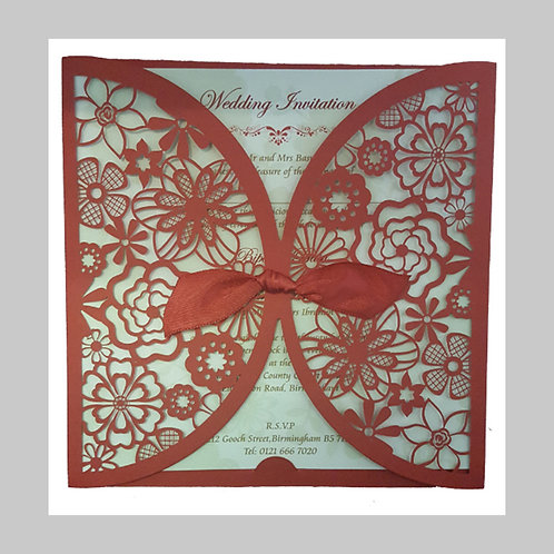 Red Invitation With Red Filigree LC8330