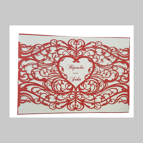 Red Elegant Love Heart Laser Cut Invitation LC1030