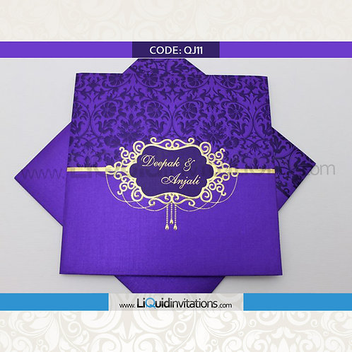 Purple & Gold Wedding Invitation Card QJI11
