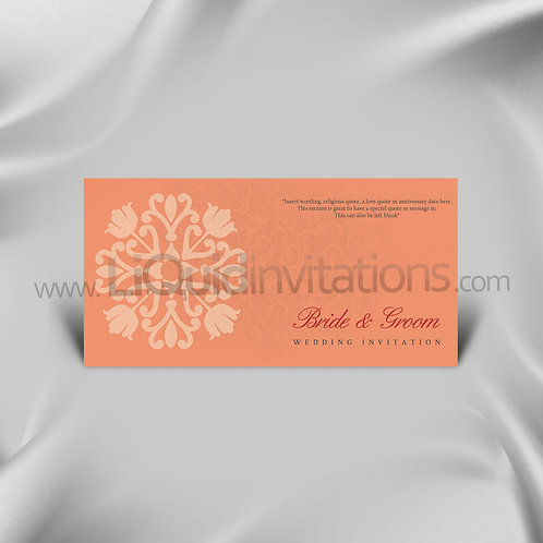 Salmon & Red Wedding Card QDL32