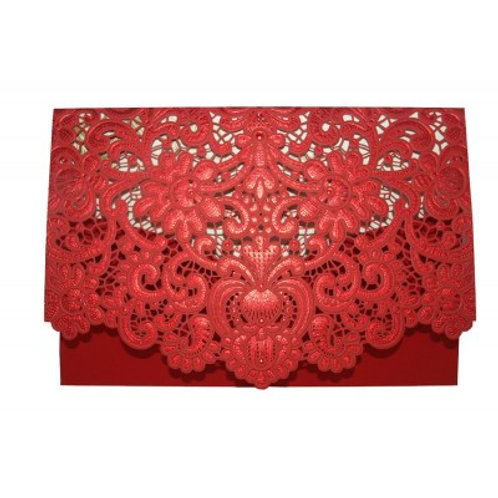 Red Pocket Laser Cut Invitation CW057