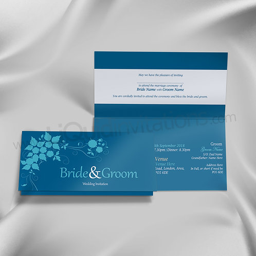 Mixed Blue Tent Folded Wedding Day Invite QTF27