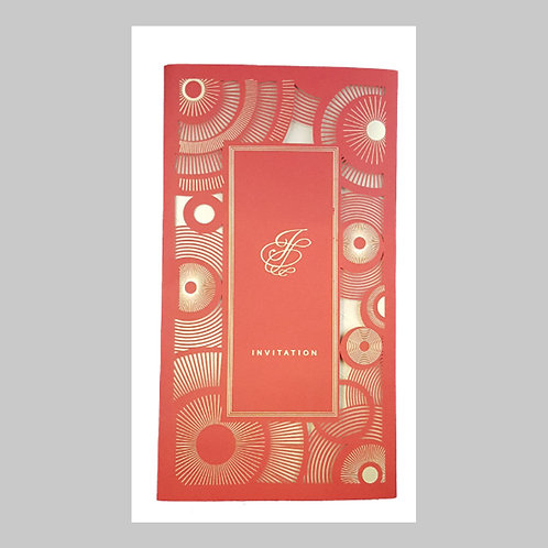 Red Coral Laser Cut Invitation LC1601 (Red)