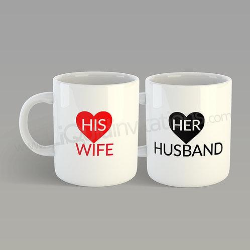 Personalised Wedding Mugs Wife Husband QMG02