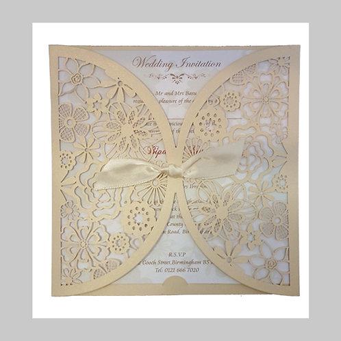 Gold Ornamental Flowery Laser Cut Invitation LC 8330 (Gold)
