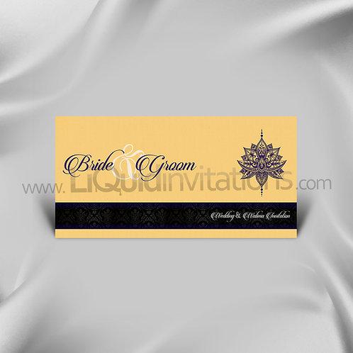 Cream, Purple & Black DL Wedding Invitation Card QDL42